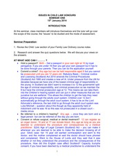 Issues in Child Law - Seminar Notes - Introduction