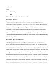 Science Fair Lab Report By: Ashley Yaffe