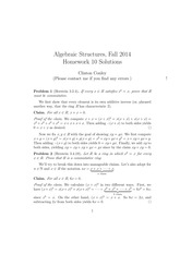 MATH 373 Fall 2014 Homework 10 Solutions