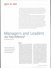 Zaleznik - Managers and Leaders - Are They Different
