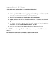Assignment Chapter 04 TCP IP Settings Assignment 4 setings