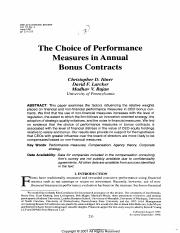 Ittner, C., D. Larcker, and M. Rajan, 1997. The Choice of Performance Measures in.pdf