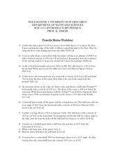 Projectile Motion Worksheet - Projectile Motion Worksheet 1 A ball ...