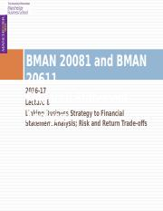 BMAN 20081 Lecture 06 2016 17 Linking business strategy to fin stat analysis and risk and return tra
