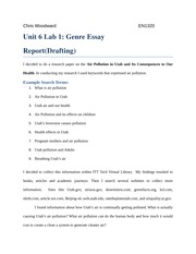 Unit 6 Lab 1 Genre Essay Report Drafting