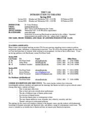 Introduction to Theatre Syllabus Sp 10