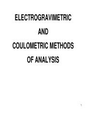 Electrogravimetry and Coulometry