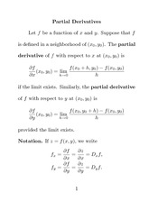 Partial Derivatives Notes