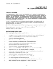 CHAPTER EIGHT: THE COSTS OF PRODUCTION