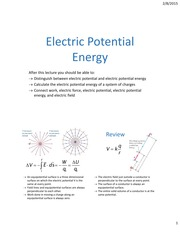 Lecture07 ch23 ElectricPotentialEnergy