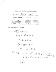 MATH 1090 Winter 2012 Test 1 Solutions