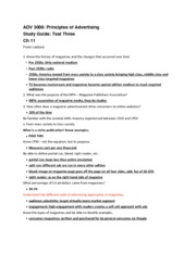ADV 3008 Chapter 11 Study Guide