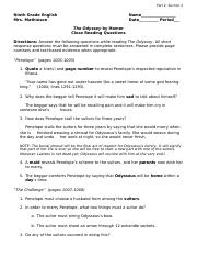 The Odyssey Part II Close Reading Questions - Penelope - The Challenge - KEY.doc