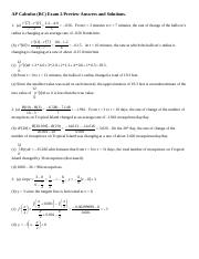 AP Calc Exam 2 Preview answers and solutions