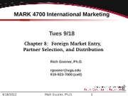 Ch 8 Foreign Market Entry Selection and Distribution v12-0910
