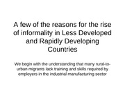 A few reasons for the rise of informality_rev June 2011