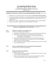 Resume example - Accounting 2