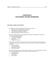 Chapter 6 NONTARIFF TRADE BARRIERS Practice Test
