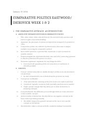COMPARATIVE POLITICS EASTWOOD: DICKOVICK WEEK 1 & 2 .docx
