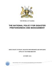 Disaster Policy for Uganda