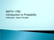 MATH 1780 Lecture Notes Chapter 3 Section 1