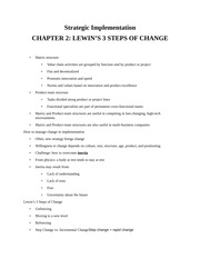 LEWIN'S 3 STEPS OF CHANGE