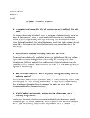 BUS2750 B Chapter 5 Discussion Questions