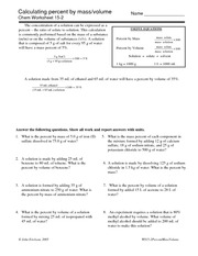 Calculating Percent By Mass Volume Chem Worksheet 15 2