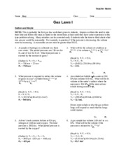Worksheet - Gas Laws I - Teacher - Teacher Notes Name Key Class Date ...