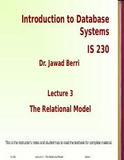 Lecture 3 - Relational Model