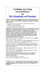 Guidelines for Citing an Oral History