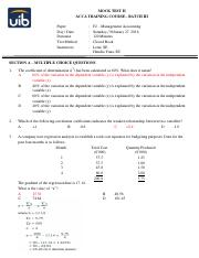 Batch III - 2nd Mock Test - MCQ Answers
