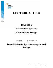 Ln1 Introduction To Systems Analysis And Design Pdf Lecture Notes Isys6506 Information Systems Analysis And Design Week 1 U2013 Session 2 Introduction Course Hero