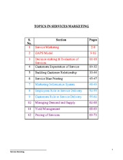 TOPICS IN SERVICES MARKETING