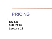 BA 320 Lecture 14 PRICING