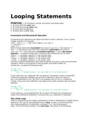 LOOPS notes