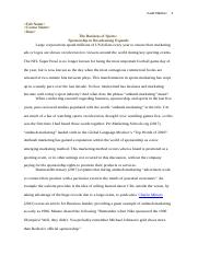 Business in Sports Essay