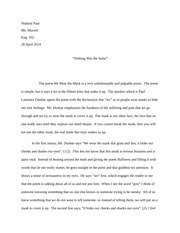"""Nothing Was the Same"" Poetry Explification Paper"