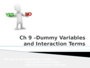 Ch 9 Dummy Variables and Interaction Terms