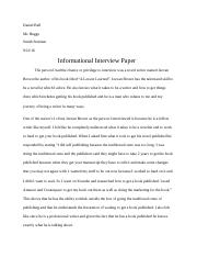 Daniel Bell Smith Seminar Informational Interview Paper
