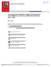 Portraying the Alcoholic Images of Intoxication and Addiction in American Alcoholism Movies 1931 196