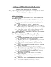 Official History 1025 Final Exam Study Guide