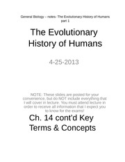 General Biology – notes- The Evolutionary History of Humans part 1