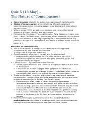 Quiz 5 - the nature of consciousness.docx