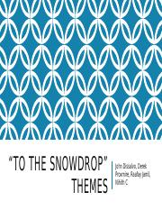 To The Snowdrop