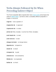 Verbs Always Followed by De When Preceding Indirect Object