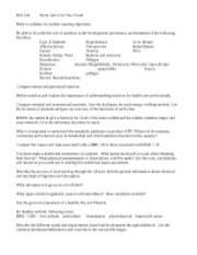 BIO 240  Study Guide for Final S2011