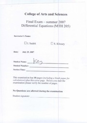 MTH 205-Solutions of Final Exam -Summer 2007