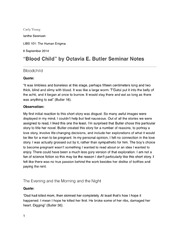 Blood Child Seminar Notes
