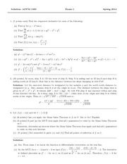 Exam 2 Solution Spring 2014 on Calculus 1 for Engineers